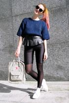 off white kanken fjallraven bag - navy cropped H&M Trend sweater