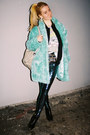 Glitter-primark-boots-faux-fur-vintage-coat-mermaid-black-milk-leggings