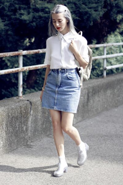 sky blue thrifted skirt - silver glitter jelly JuJu shoes