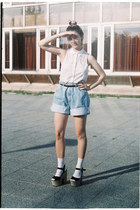 white sleeveless H&M shirt - blue denim thrifted shorts