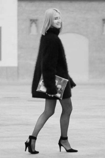black angora H&M Trend jumper - white transparent Bershka bag