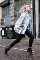 periwinkle vintage jacket - black H&M boots - dark gray cigarette Levis jeans