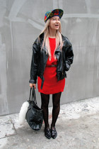 red blood red H&M Trend dress - black leather Zara shoes