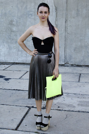 neon H&M bag - silver H&M Trend socks - pleated H&M Trend skirt