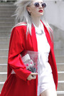 White-shoulder-pads-thrifted-shirt-red-cape-thrifted-jacket