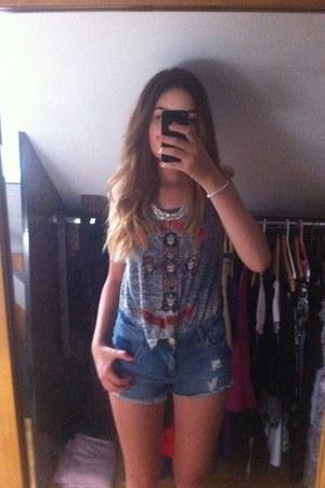 navy pull&bear shorts - silver gunsroses H&M t-shirt