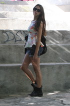 black Juicy Couture bag - black BLANCO boots - navy Bershka shorts