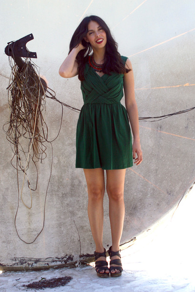 dark green eShakti dress - crimson Zara necklace - black Bakers wedges
