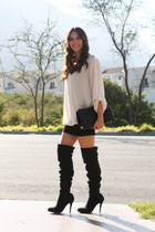 black Moschino bag - black Christian Louboutin boots - white Zara blouse
