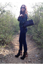 navy Zara boots - black Moschino bag - forest green Zara blouse