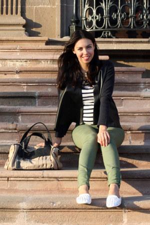 tan Zara bag - olive green H&M jeans - white Topshop flats - navy Zara t-shirt