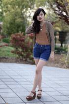 vintage cardigan - vintage blouse - brown Charlotte Russe clogs