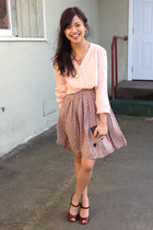 pink Forever 21 skirt - light pink dusty pink thrifted vintage blouse