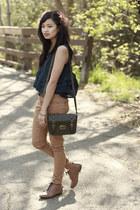 tan skinnies Forever21 pants - olive Ross bag
