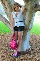 Princess Polly top - coach bag - Neon Hart shorts - Zu Shoes heels