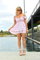 light pink Faith & Lola dress - white peeptoe wedges