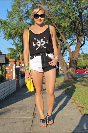 black Jorge top - yellow Mimco bag - white Refuge shorts