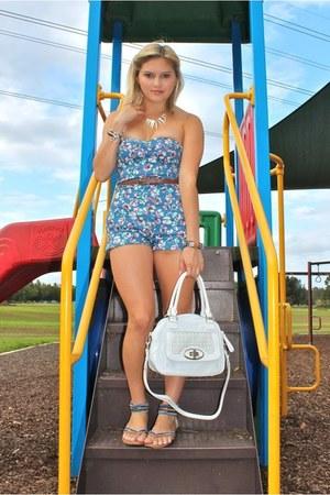 sky blue Sportsgirl romper - brown betts sandals - white Oroton bracelet