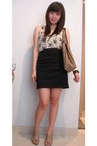 beige cotton on shirt - black skirt - brown shoes - brown purse - black Forever