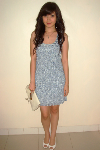 blue Zara dress - white shoes - white Gucci purse - pink Forever 21 accessories