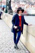 black Topshop boots - navy Topshop coat - navy Topshop jeans