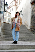 black Topshop shoes - tan Topshop coat - light blue Levi jeans - tan Ebay scarf