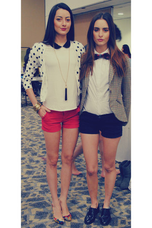 black shorts - red shorts - navy shoes - brown blazer - white blouse - red pumps