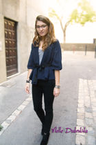 black Primark jeans - H&M blazer - Kookai shirt - ANDRE shoes