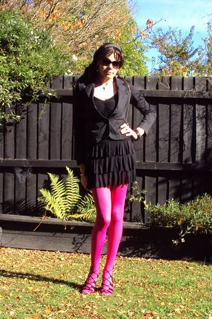 black Glassons blazer - black supre dress - pink garage tights - black maya shoe