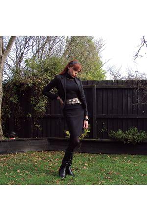 black Glassons blazer - black supre shirt - black unknown skirt - black No1 shoe