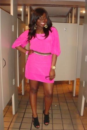 pink Express dress - black Steve Madden shoes - gray Express belt