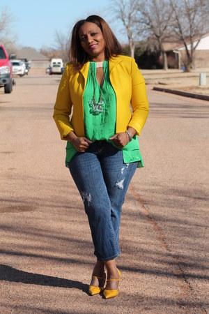 green Diane Von Furstenberg shirt - navy ann taylor jeans