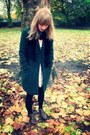 Leather-topshop-boots-lace-h-m-dress-dark-green-boyfriend-debenhams-coat