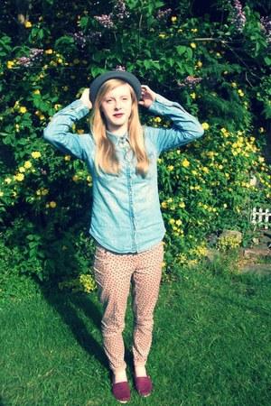 hat - denim H&M shirt - new look pants - canvas TOMS flats