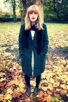 dark green boyfriend Debenhams coat - leather Topshop boots - lace H&M dress