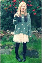 patent Topshop boots - lace H&M dress - heart Topshop jumper