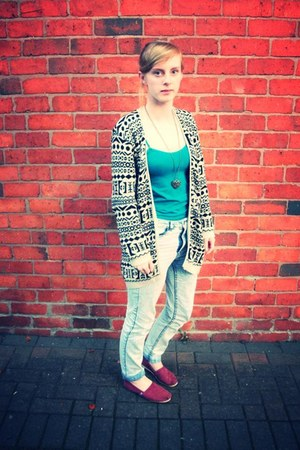 aztec new look cardigan - acid wash H&M jeans - tank Primark top