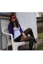 pink Ladencouk glasses - purple H&M cardigan - white The Lanes shirt - black thr