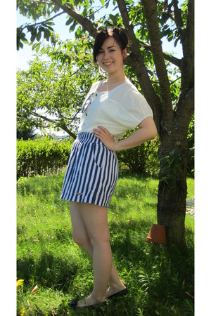 blue hollister skirt - white definitionssache shirt - dark brown H&M sunglasses