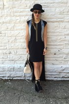 Koolaburra boots - BCBGeneration dress - H&M hat - black and white DKNY bag