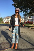 distressed Nasty Gal jeans - j shoes boots - leather All Saints jacket