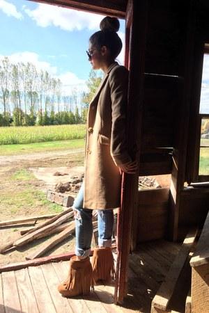 fringe Koolaburra boots - camel Ralph Lauren coat - distressed Les Halles jeans
