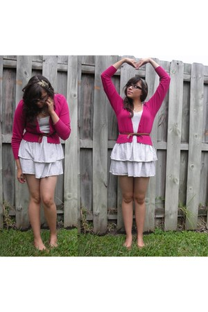 off white striped Armani Exchange dress - hot pink cotton Anthropologie cardigan