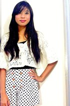 polka dots shorts - white lace up top