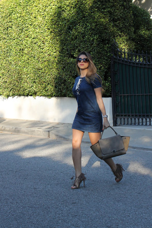 navy denim Forever 21 dress - camel Celine bag