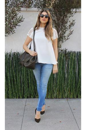 sky blue denim Zara jeans - forest green leather PROENZA SCHOULER bag