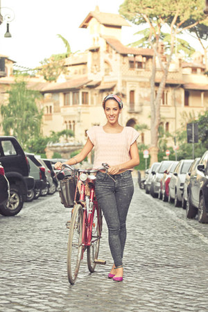 navy Primark jeans - peach vintage top - hot pink Zara flats
