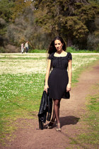 black Primark dress - black Mango jacket - black vintage bag