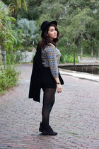 black distressed H&M boots - black Zara hat - black Betsey Johnson tights