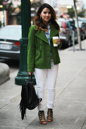 green pea coat Old Navy coat - white skinny jeans Old Navy jeans